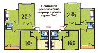 Планировка квартир. дома серии п-46 панельный. недвижимость .
